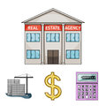 Calculator, dollar sign, new building, real estate offices. Realtor set collection icons in cartoon style vector symbol