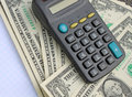 Calculator and dollars cash money Royalty Free Stock Photo