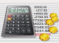 Calculator, golden coins and a sheet of paper Royalty Free Stock Photography