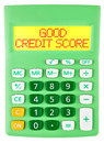 Calculator with GOOD CREDIT SCORE on display Royalty Free Stock Photo