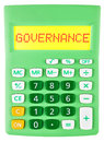 Calculator with GOVERNANCE on display isolated