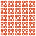 100 calculator icons hexagon orange