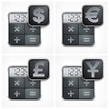 Calculator icons with money symbol on white vector illustration Royalty Free Stock Image