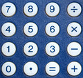 Calculator keys close up of round of a blue Royalty Free Stock Image