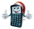 Calculator math christmas character maths wearing a santa claus hat Stock Image