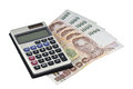 Calculator and money thai paper Royalty Free Stock Images