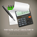Calculator notepad with ballpoint pen business concept vector illustration Stock Photo