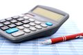 Calculator and pen accounting concept Stock Images