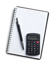 Calculator and pen on blank notebook Stock Photography