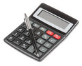 Calculator with pen isolated Stock Photos