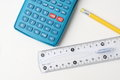 Calculator, Pencil and Ruler Stock Photography