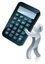 Calculator person conceptual illustration of a figure holding a Stock Image