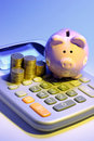 Calculator with  Piggybank Royalty Free Stock Image