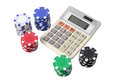 Calculator and Poker Chips Royalty Free Stock Images
