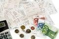 Calculator, receipts, bills Royalty Free Stock Photo