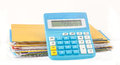 Calculator show number of expense with many bill Royalty Free Stock Image