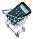 Calculator trolley concept a in a shopping cart could be for shopping for accountant online or online math Royalty Free Stock Images