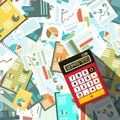 Calculator woth Paperwork Background Royalty Free Stock Photo