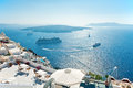 Caldera and nea kameni view fira santorini from balcony Stock Image