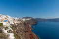 Caldera of santorini greece overlooking the aegean sea captured near the village oia high angle view Stock Photo