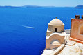 Caldera view with old church santorini Stock Image