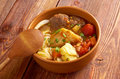 Caldo е res traditional mexican beef soup Stock Photo