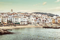 Calella de palafrugell afternoon landscape about nice fisher s village of costa brava Stock Photography