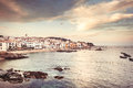 Calella de palafrugell afternoon landscape about nice fisher s village of costa brava Royalty Free Stock Photo