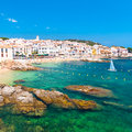 Calella de palafrugell costa brava catalonia spain traditional whitewashed fisherman village and a popular travel and holiday Stock Photos