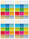 Calendar for 2010, 2011, 2012 and 2013 Royalty Free Stock Images