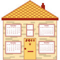 Calendar 2011 in an orange house Stock Photography