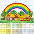 Calendar 2011 village and rainbow Stock Photo