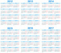 Calendar 2012 -2017 Stock Images