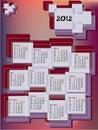 Calendar 2012 nos retângulos Fotos de Stock Royalty Free