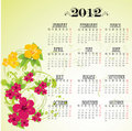 Calendar 2012 with pink flowers Royalty Free Stock Photo