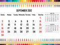 Calendar 2012 September Royalty Free Stock Images