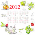 Calendar for 2012 with vegetable Royalty Free Stock Photos