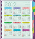 Calendar for 2012. The week starts with Sunday. Di Stock Photography