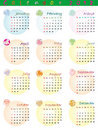 Calendar 2012 with zodiac signs Stock Photography