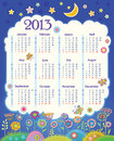 Calendar for 2013. Cloud in the night sky. Childre Royalty Free Stock Photos