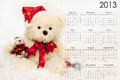 Calendar for 2013 with a festive teddy bear Royalty Free Stock Image