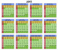 Calendar 2013. Six languages. Royalty Free Stock Photo
