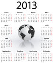 Calendar for 2013 in Spanish with globe Royalty Free Stock Photo