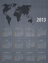 Calendar 2013 world map linen texture Royalty Free Stock Photography
