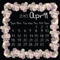 Calendar, april 2010 Royalty Free Stock Photo