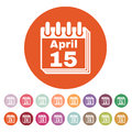 The Calendar 15 april icon. Tax day Royalty Free Stock Photo