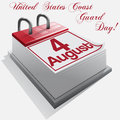 Calendar august united states coast guard day vector Stock Photo