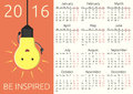 Calendar 2016, be inspired Royalty Free Stock Photo