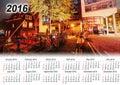 Calendar 2016. Beautiful calm night view of Amsterdam city