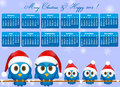 Calendar with bird family funny blue birds Stock Photo